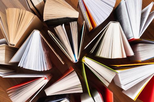 variedad de libros en vista superior