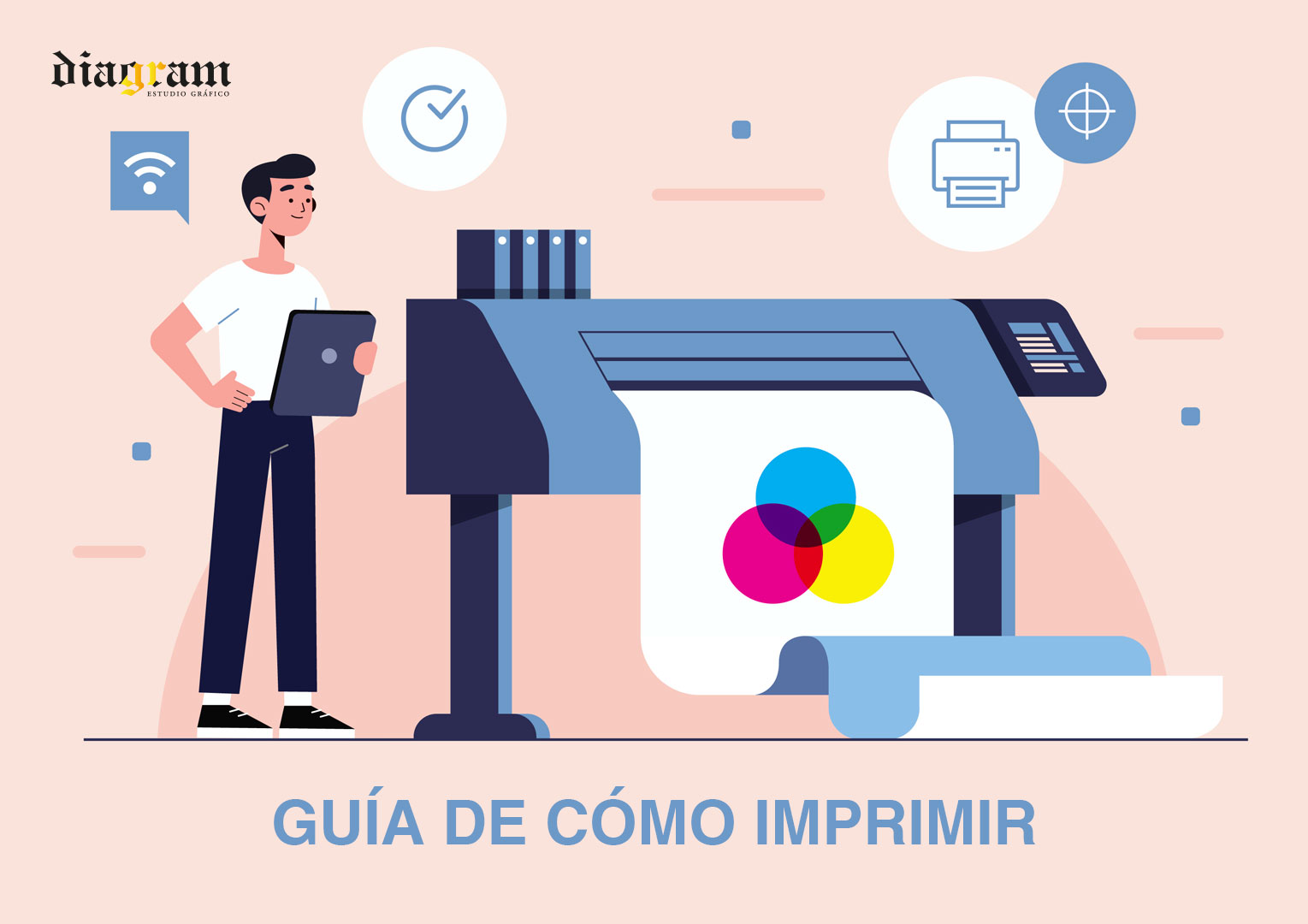 imagen persona al lado de maquina de impresion cmyk con texto