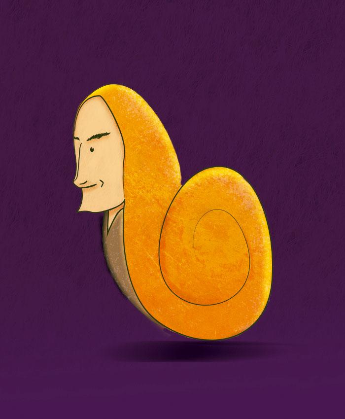 ilustracion de caracol humanizado